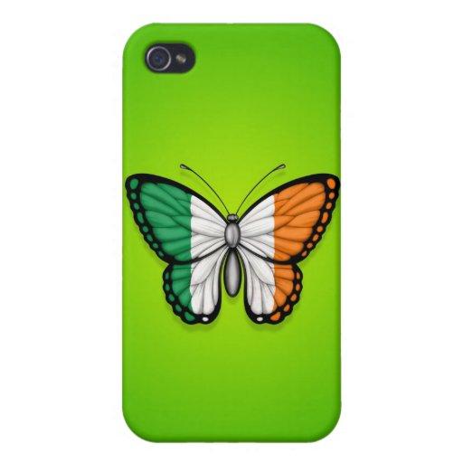Bandera irlandesa de la mariposa en verde iPhone 4 coberturas