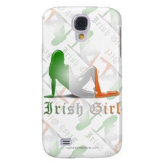Bandera irlandesa de la silueta del chica