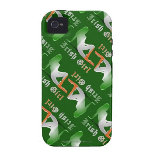 Bandera irlandesa de la silueta del chica vibe iPhone 4 funda