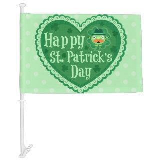 Bandera irlandesa del coche del Leprechaun del día