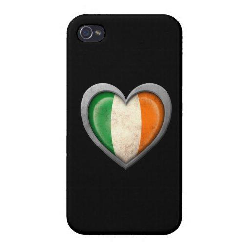 Bandera irlandesa del corazón con efecto del metal iPhone 4/4S funda