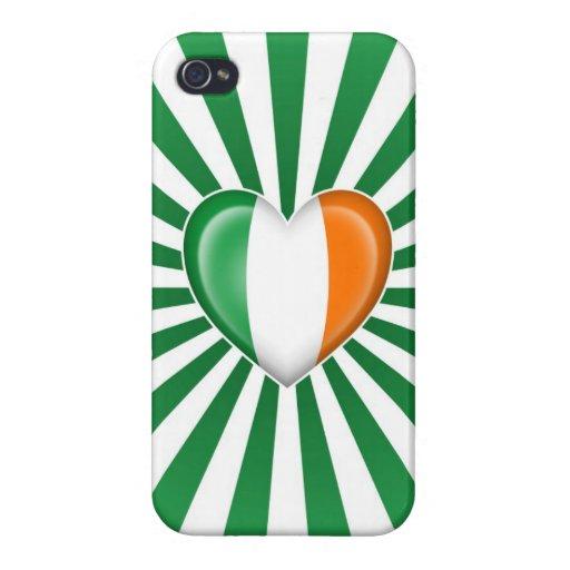 Bandera irlandesa del corazón con la explosión de  iPhone 4 fundas