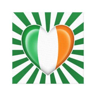 Bandera irlandesa del corazón con la explosión de impresion en lona