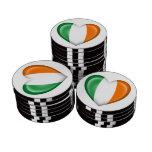 Bandera irlandesa del corazón en blanco fichas de póquer