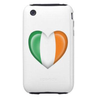Bandera irlandesa del corazón en blanco iPhone 3 tough cárcasas