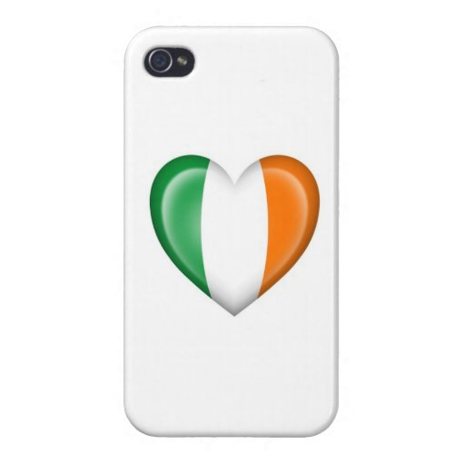 Bandera irlandesa del corazón en blanco iPhone 4/4S carcasas