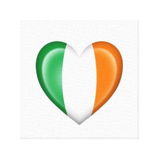 Bandera irlandesa del corazón en blanco lona estirada galerías