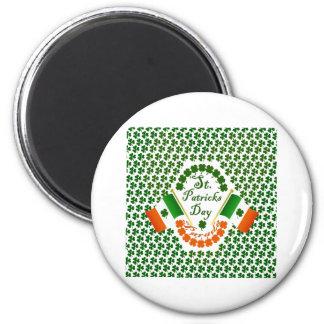 Bandera irlandesa del trébol del engranaje de imán redondo 5 cm