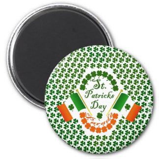 Bandera irlandesa del trébol del engranaje de Irla Imán Redondo 5 Cm