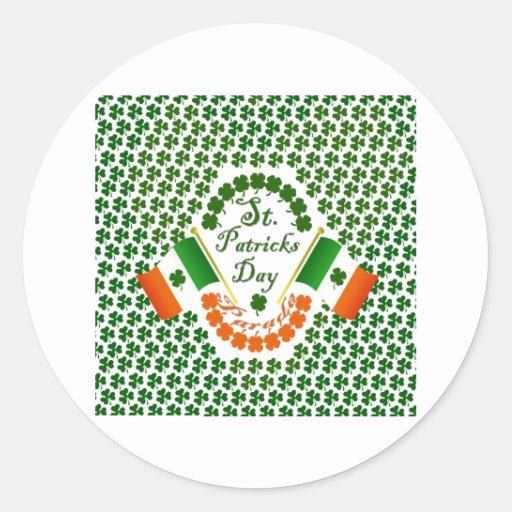 Bandera irlandesa del trébol del engranaje de etiqueta redonda