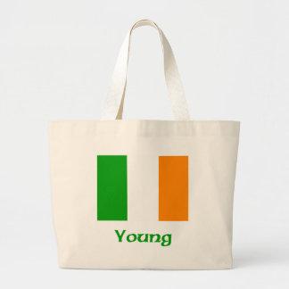 Bandera irlandesa joven bolsa tela grande
