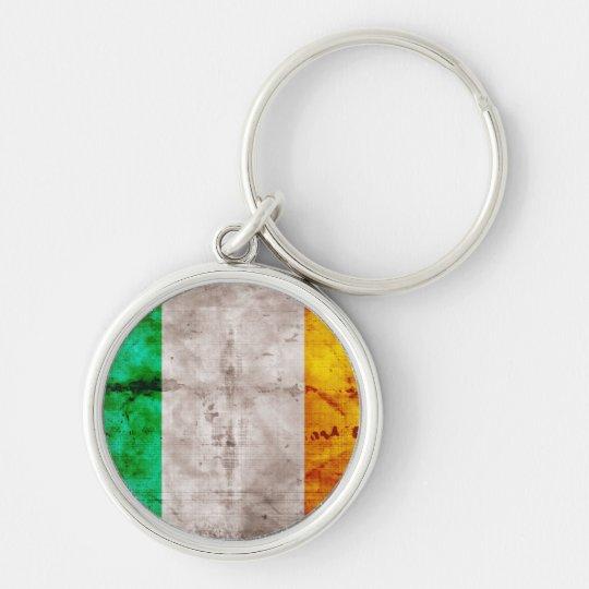 Bandera irlandesa llavero redondo plateado