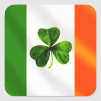 Bandera irlandesa calcomania cuadrada personalizada