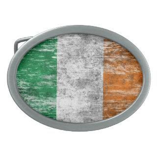 Bandera irlandesa rascada y llevada hebilla cinturon oval