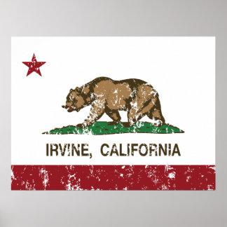 Bandera Irvine del estado de Californi Póster