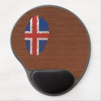 Bandera islandesa de la huella dactilar del tacto alfombrillas de ratón con gel