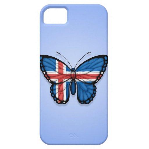 Bandera islandesa de la mariposa en azul iPhone 5 Case-Mate cárcasas