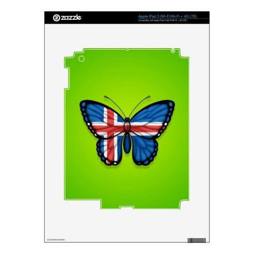 Bandera islandesa de la mariposa en verde iPad 3 skin