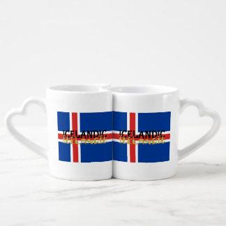 Bandera islandesa del caballo taza para enamorados