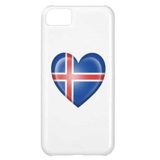 Bandera islandesa del corazón en blanco