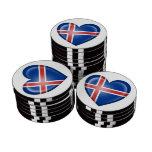 Bandera islandesa del corazón en blanco juego de fichas de póquer