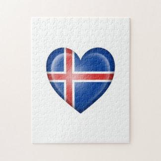 Bandera islandesa del corazón en blanco puzzles con fotos