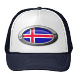Bandera islandesa en el marco de acero gorro de camionero