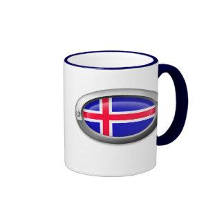 Bandera islandesa en el marco de acero taza de café