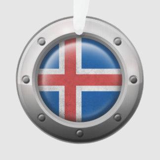 Bandera islandesa industrial con el gráfico de ace