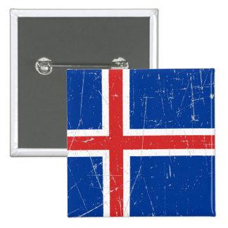 Bandera islandesa rascada y rasguñada pins