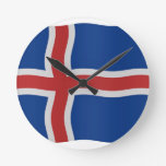 Bandera islandesa reloj de pared