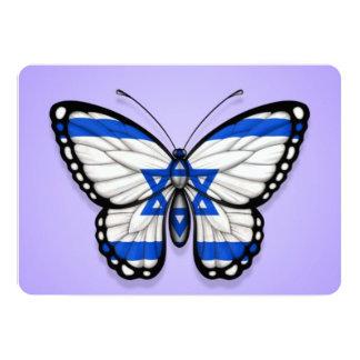 """Bandera israelí de la mariposa en púrpura invitación 5"""" x 7"""""""