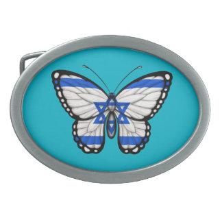 Bandera israelí de la mariposa hebillas de cinturon ovales