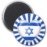 Bandera israelí del corazón con la explosión de la imán para frigorífico
