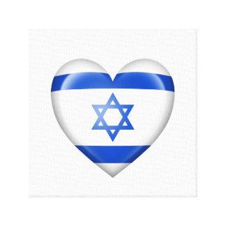 Bandera israelí del corazón en blanco impresion en lona