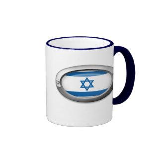 Bandera israelí en el marco de acero tazas