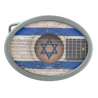 Bandera israelí en la guitarra acústica vieja hebilla de cinturon oval