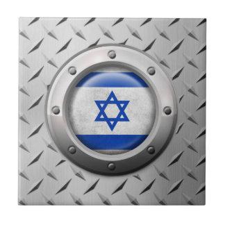 Bandera israelí industrial con el gráfico de acero teja