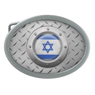 Bandera israelí industrial con el gráfico de acero hebilla cinturón oval