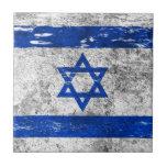Bandera israelí rascada y llevada tejas  cerámicas