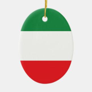 Bandera italiana adorno navideño ovalado de cerámica