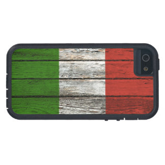 Bandera italiana con efecto de madera áspero del iPhone 5 carcasa