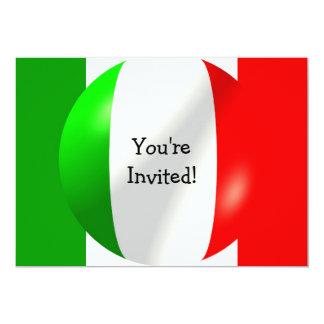 Bandera italiana con la invitación de la burbuja