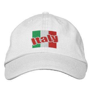 Bandera italiana de Italia con el texto Gorras Bordadas