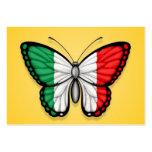 Bandera italiana de la mariposa en amarillo tarjeta de negocio