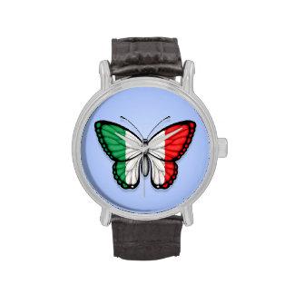 Bandera italiana de la mariposa en azul relojes de pulsera