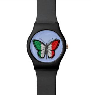 Bandera italiana de la mariposa en azul relojes de mano