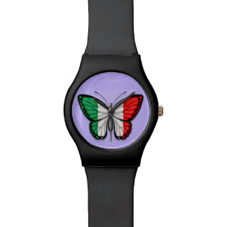 Bandera italiana de la mariposa en púrpura relojes de pulsera