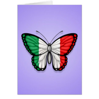Bandera italiana de la mariposa en púrpura tarjeta de felicitación