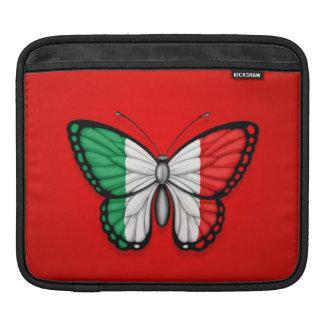 Bandera italiana de la mariposa en rojo mangas de iPad